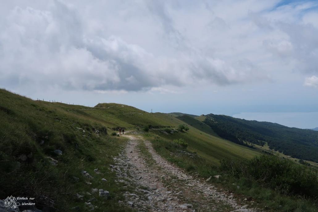 Oben auf dem Berg angekommen treffen wir auf einen Kammweg den wir nun folgen.