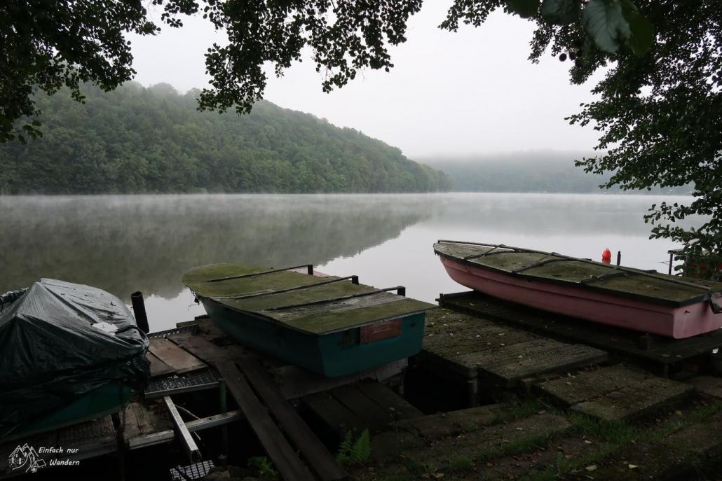 Eine Anlegestelle für kleine Ruderboote an der Talsperre Kriebstein.