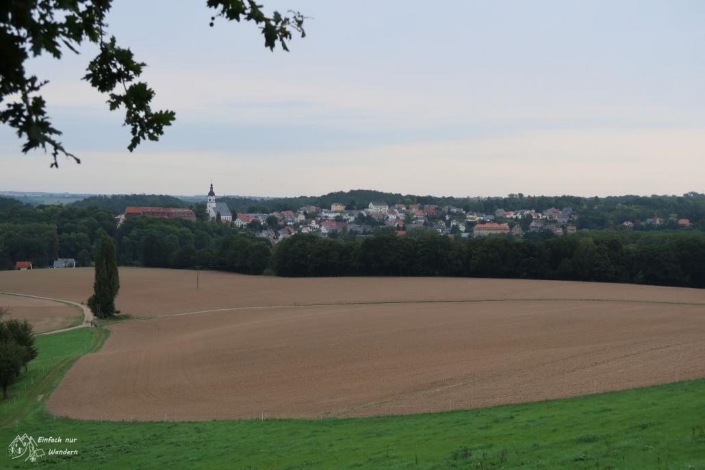 Blick zurueck auf Wechselburg was hinter einem Feld zu sehen ist.
