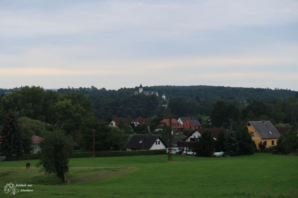 Man sieht die Rochsburg in eiiger Entfernung aus dem Wald ragen.