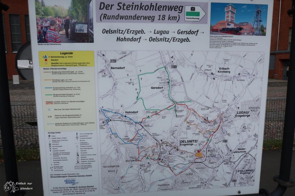 Eine Infotafel zum Steinkohlenweg zeigt alle Informationen wie Strecke, Länge und ähnliches.
