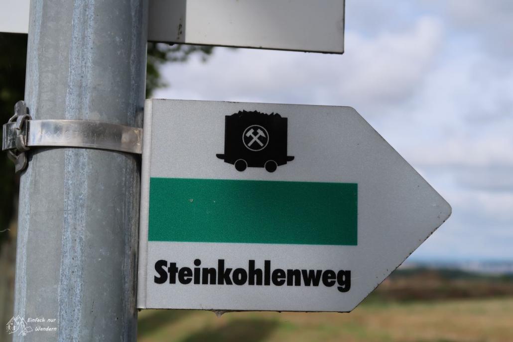 Der Wegweiser des Steinkohlenweg mit Bergbau-Hund und grünem Strich.