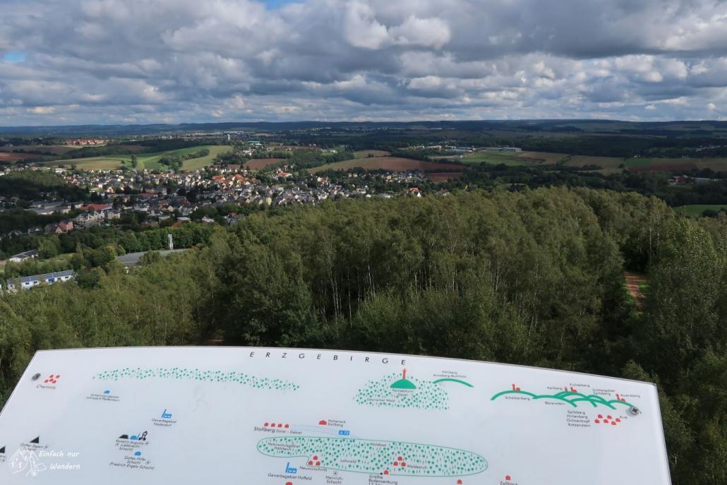 Der Blick vom Glueckauf Turm in das Erzgebirge. In angebrachte Infotafel zeigt markante Punkte in der Umgebung.
