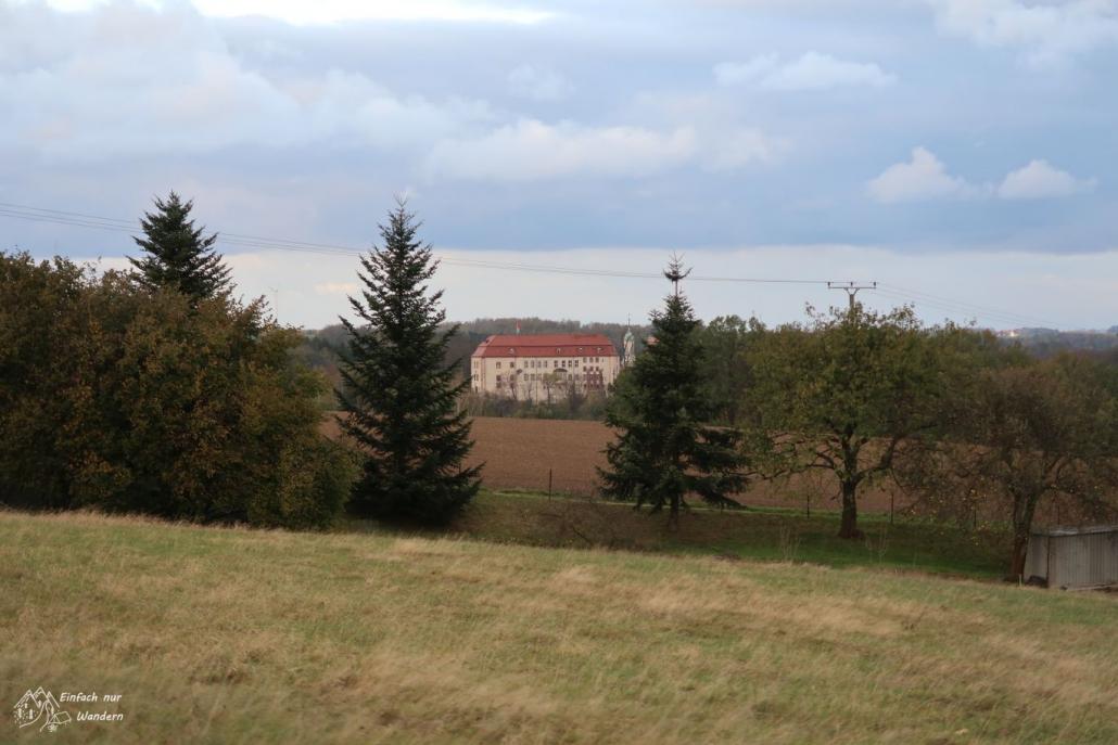 Das Wolkenburger Schloss ist durch Bäume aus einiger Entfernung zu sehen.