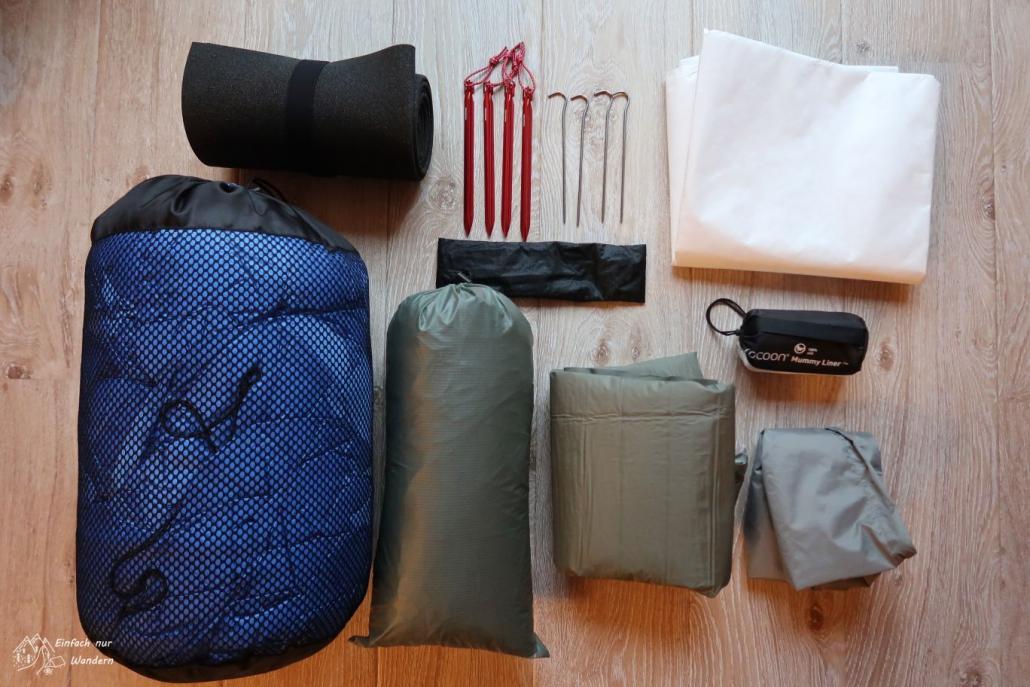 Das Ganze Equipment zum schlafen, vom Schlafsack bis zum Zelt.