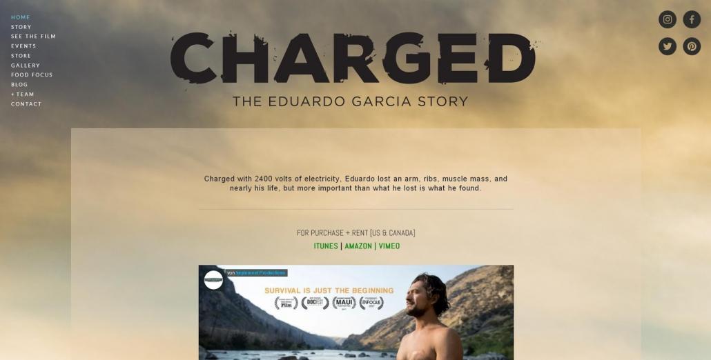 Ein Abbild der Webseite des Filmes Charged - Die Geschichte von Eduardo Garcia.