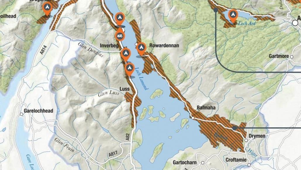 Eine Karte der Camping Management Zones rund um den Loch Lomond.
