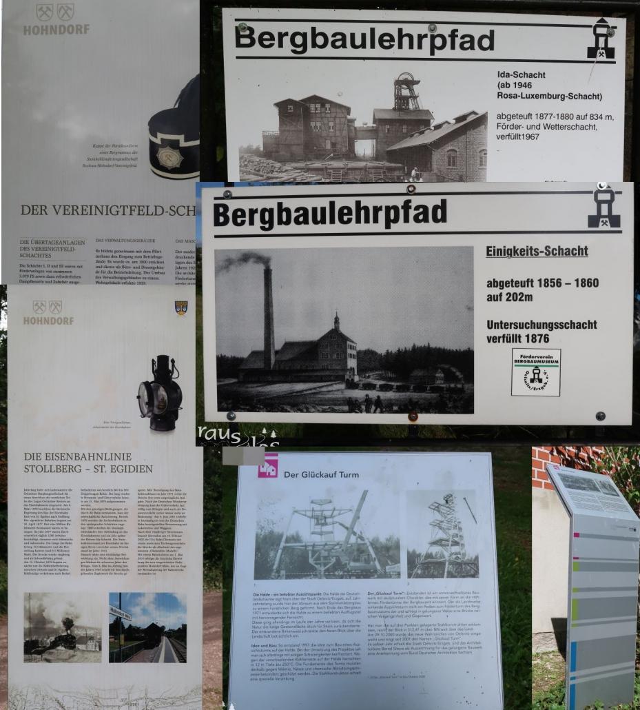 Infoschilder an markanten Punkten des Steinkohleweges informieren zur Geschichte.