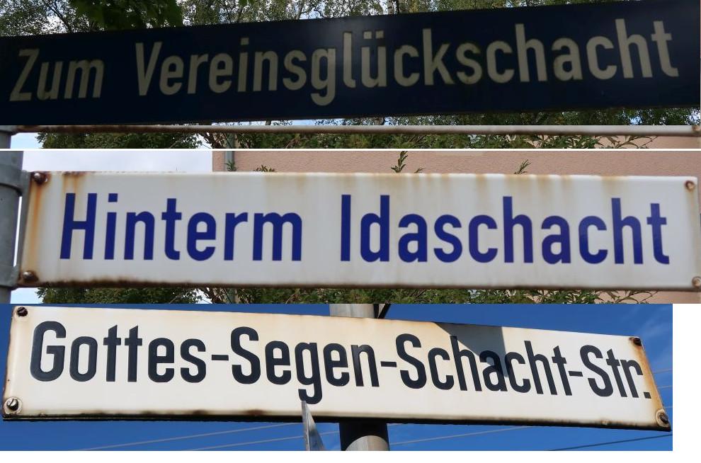 Am Streckenverlauf des Steinkohleweges befinden sich viele Straßenschilder mit Namen, die auf die Bergbauvergangenheit hindeuten.