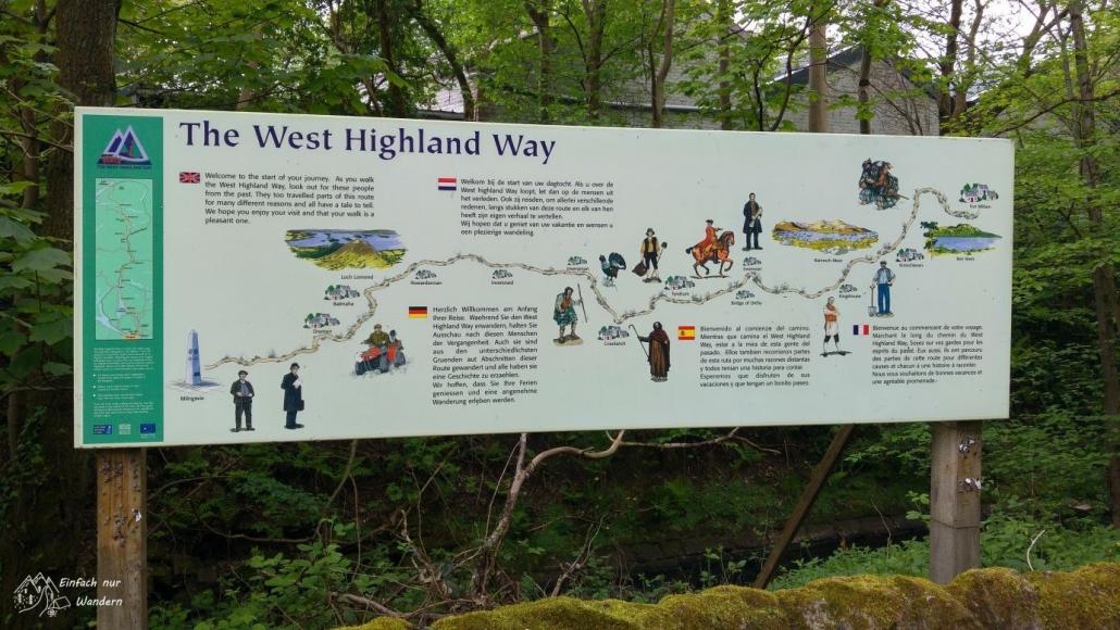Ein großes Schild gibt einen kurzen Überblick über die Strecke des West Highland Way.