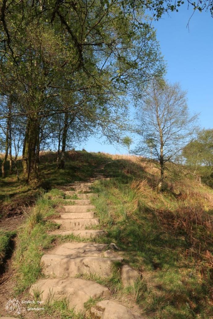 Die Treppen markieren den Einstieg in den Conic Hill.