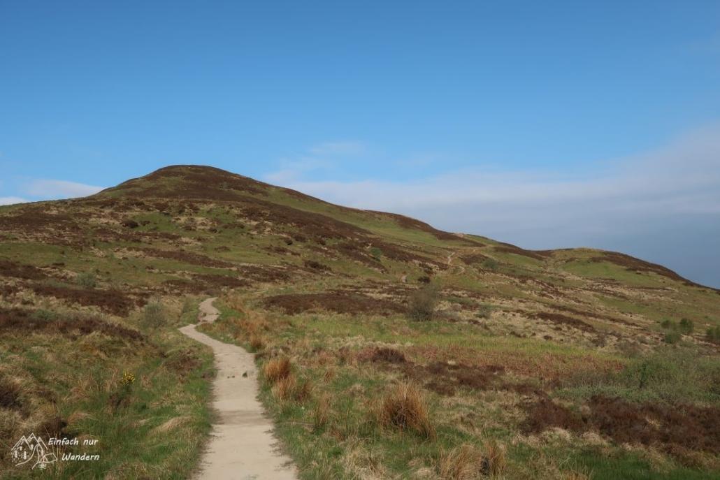 Der West Highland Way schlängelt sich nun den Conic Hill auf 361 Meter hinauf.