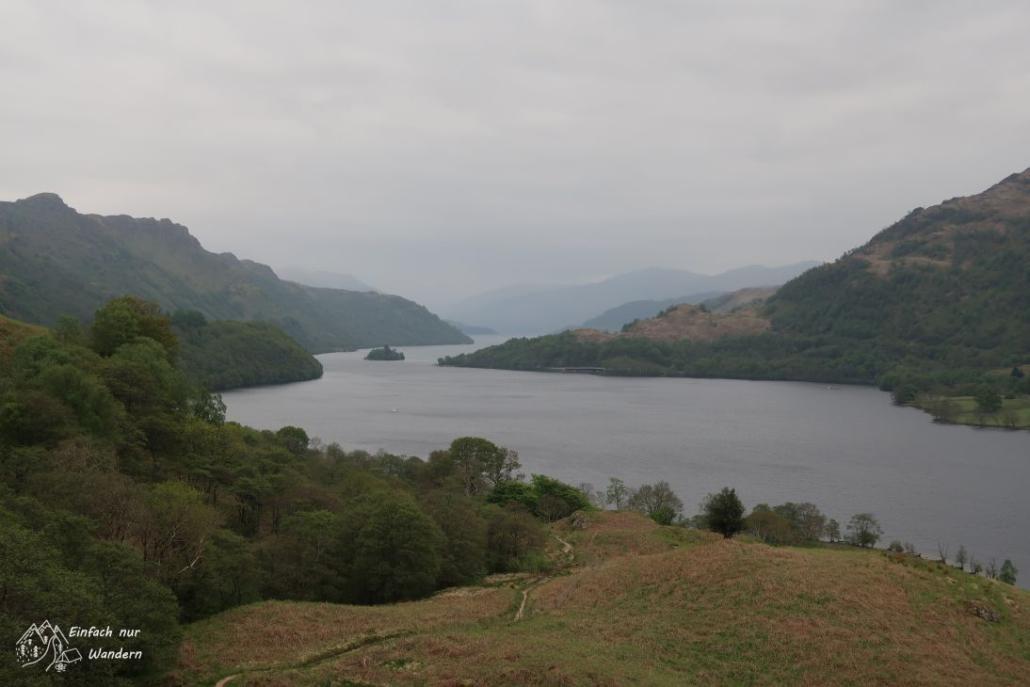 Ein Blick zurück auf Loch Lomond der nun hier endet.